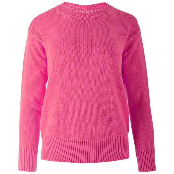 Oversized Round Neck Pullover in Fuchsia