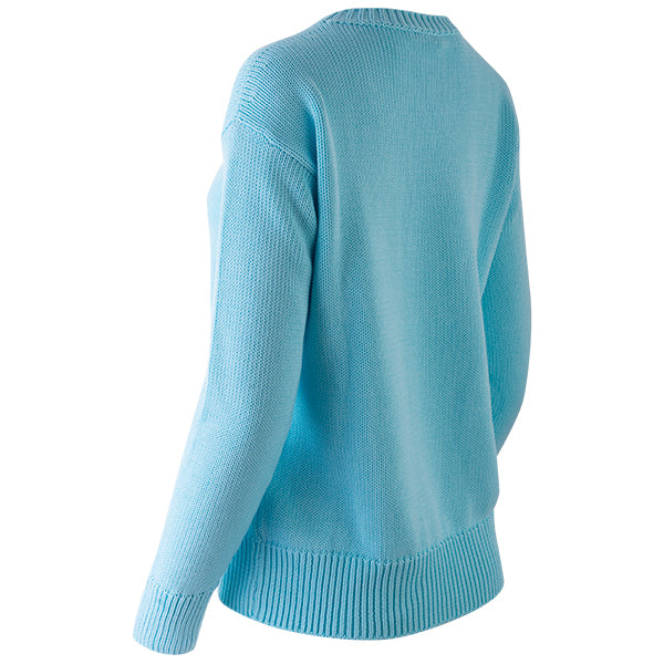 Oversized Round Neck Pullover in Bright Turquoise