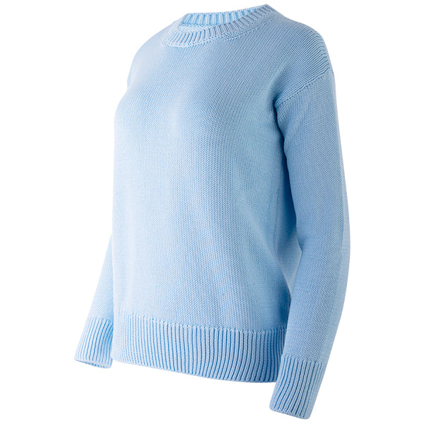 Oversized Round Neck Pullover in Baby Blue