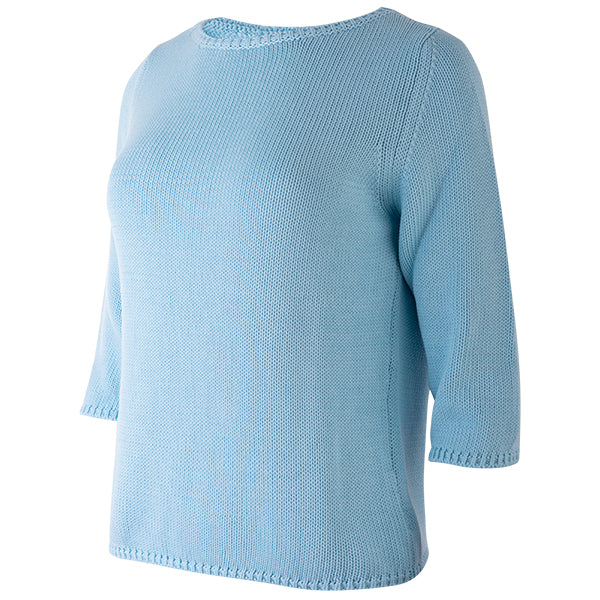 3/4 Sleeve Pullover in Shui Blue