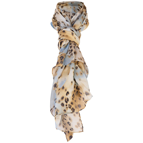 Printed Modal Cashmere Scarf in Leopard Turquoise