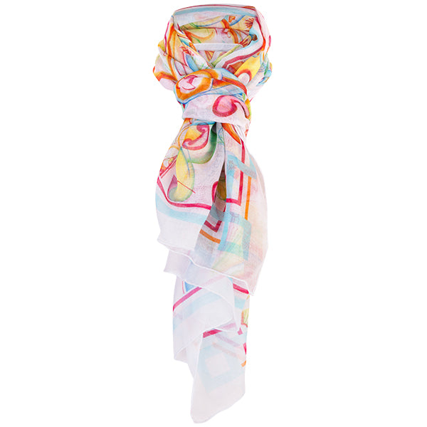 Printed Modal Linen Scarf in Art Deco Paisley