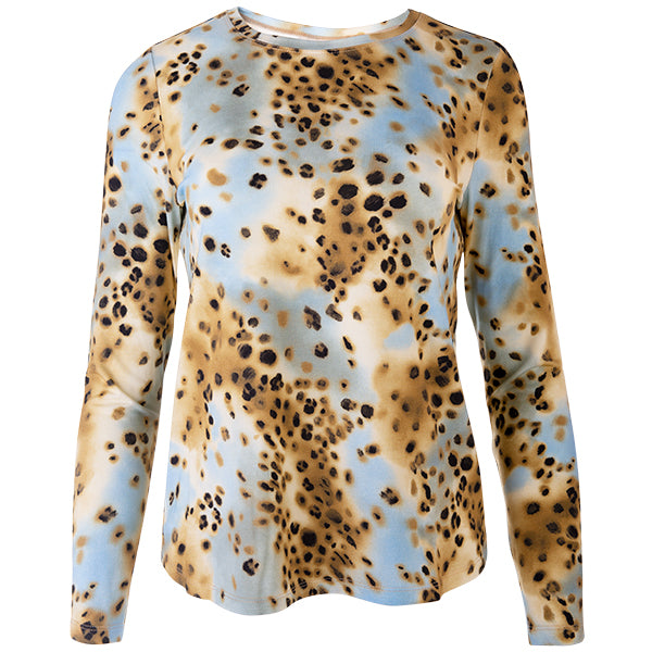 Yoke Relaxed Fit Tee in Leopard Turquoise