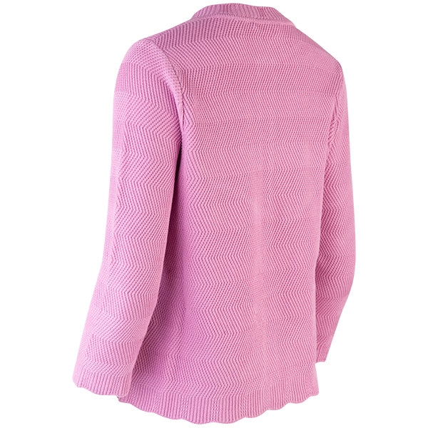 Wavy Cotton Cardigan in Bubble Gum Pink