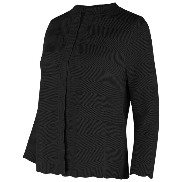 Wavy Cotton Cardigan in Black