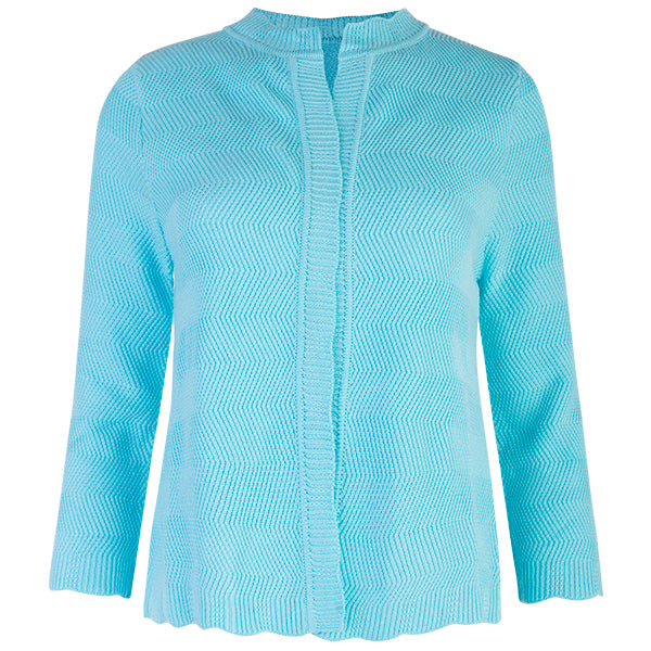 Wavy Cotton Cardigan in Bright Turquoise