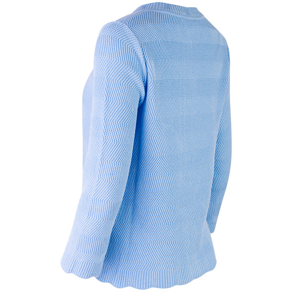 Wavy Cotton Cardigan in Light Blue