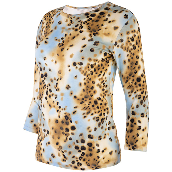 Shaped Knit Tee in Leopard Turquoise