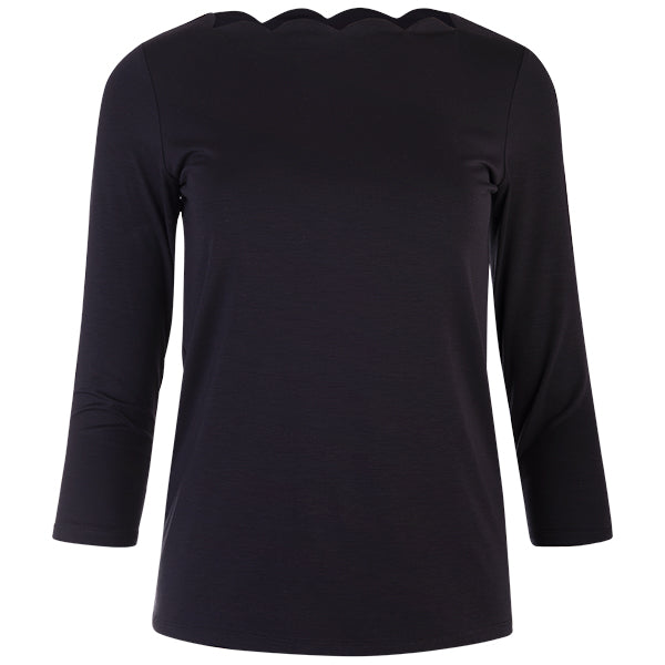 Scallop Boatneck Tee in Black