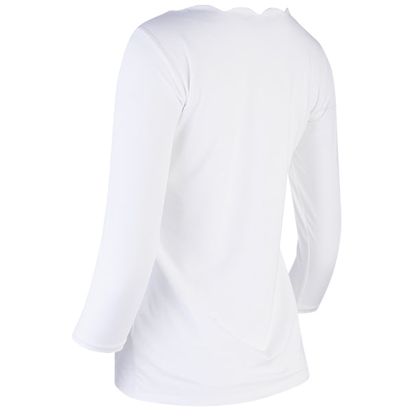 Scallop Boatneck Tee in White