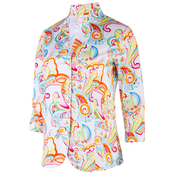 Button-front Inverted Notch Collar Blouse in Art Deco Paisley
