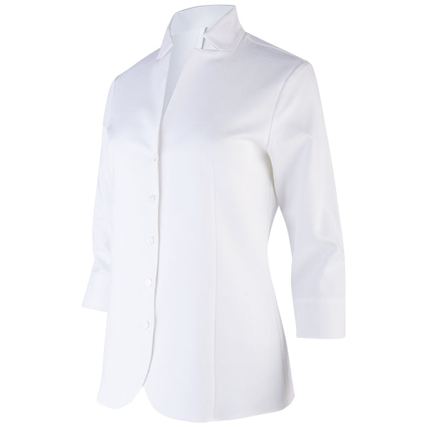 Inverted Notch Collar Pique Shirt in White