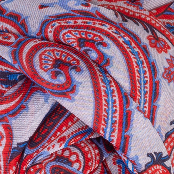 Printed Modal Cashmere Scarf in Patriotic Paisley