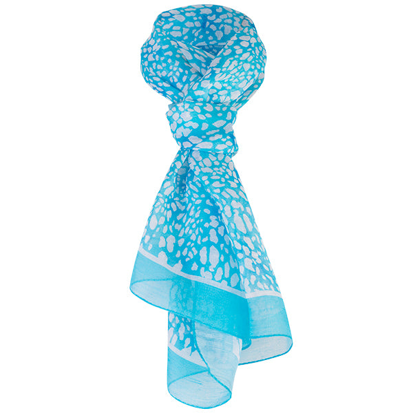 Printed Modal Linen Silk Scarf in Turquoise Mini Leopard