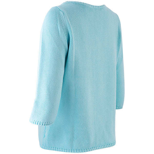 3/4 Sleeve Pullover in Bright Turquoise