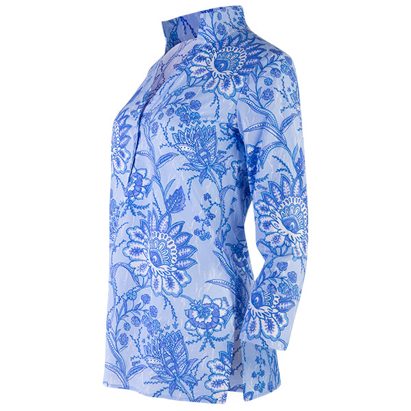 Polo Collar Tunic in Batik Floral