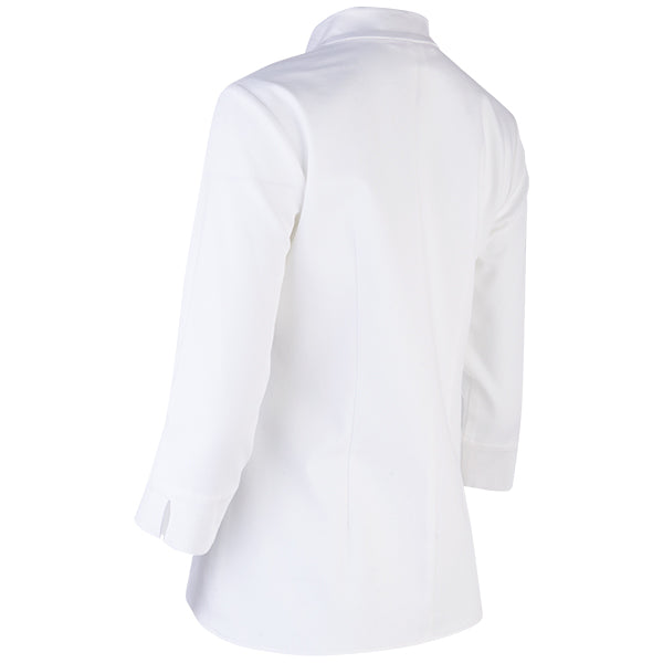 Inverted Notch Collar Pique Shirt in White.