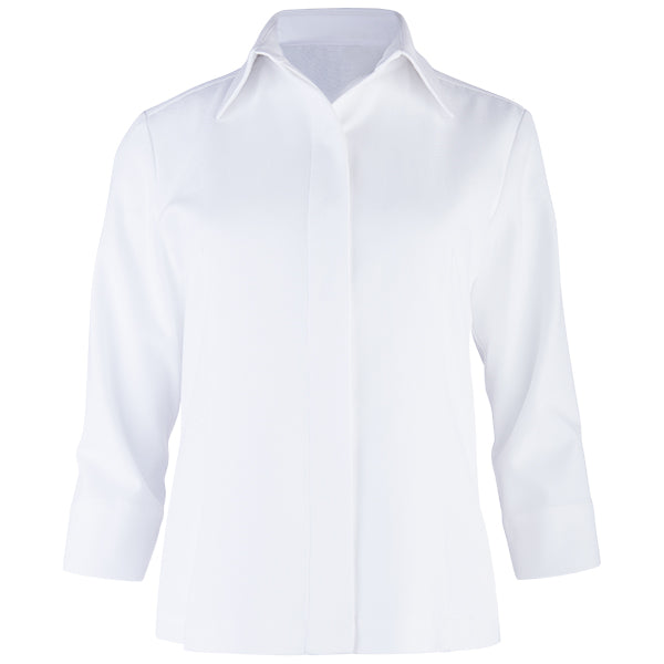 3/4 Slv Hidden Placket Shirt in White Pique.