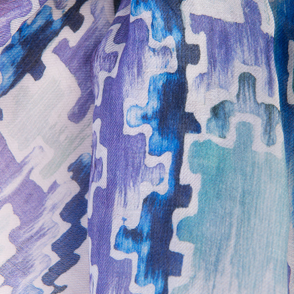 Printed Modal Cashmere Scarf in Teal Ikat Geo