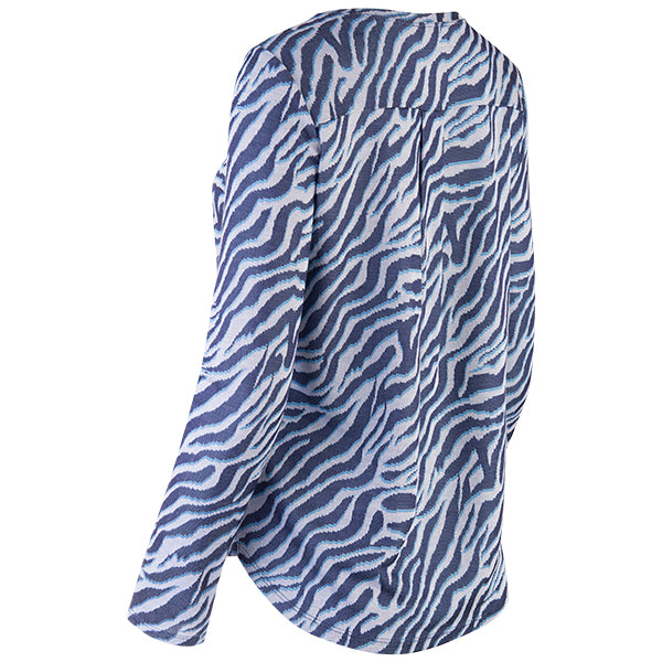 Yoke Relaxed Fit Tee in Sapphire/White Zebra