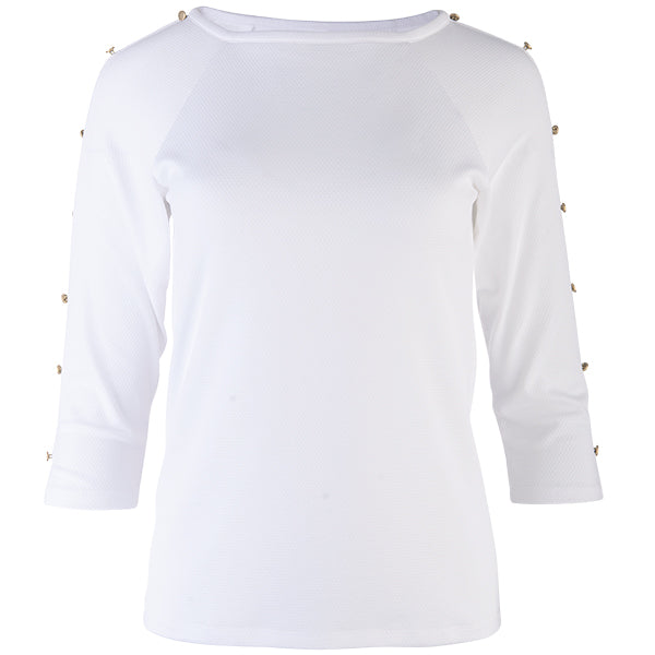 Raglan Sleeve Button Trim Tee in White