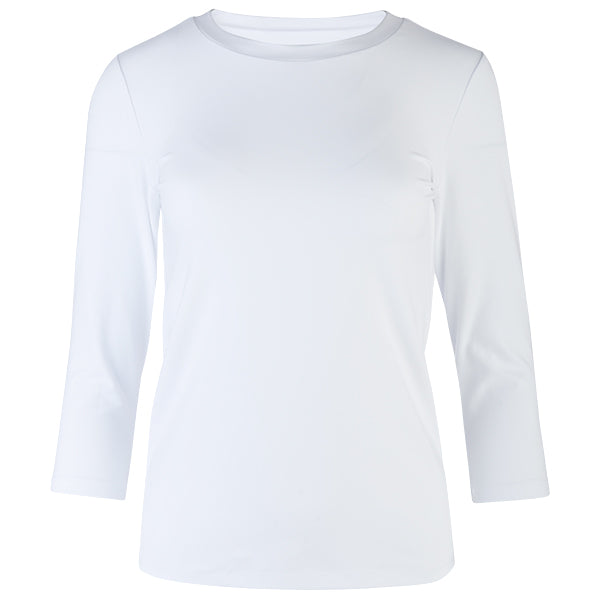 Wide Band Neck Tee in White
