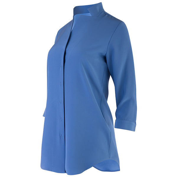 Inverted Notch Collar Tunic in Teal