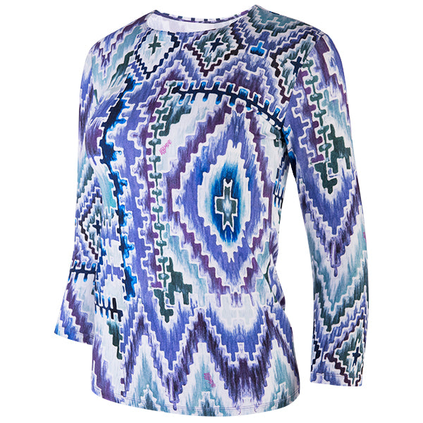 Shaped Knit Tee in Teal Ikat Geo