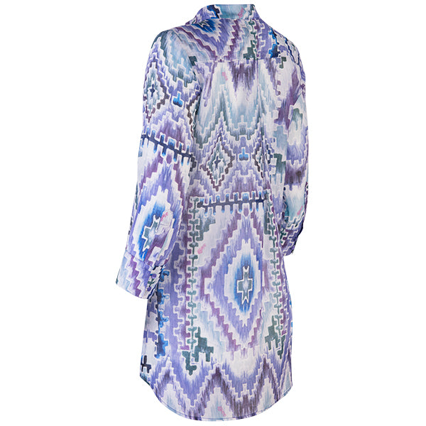 St. Tropez Tunic in Teal Ikat Geo