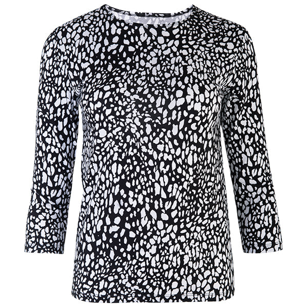 3/4 Sleeve Knit Tee in Mini Leo Black/White