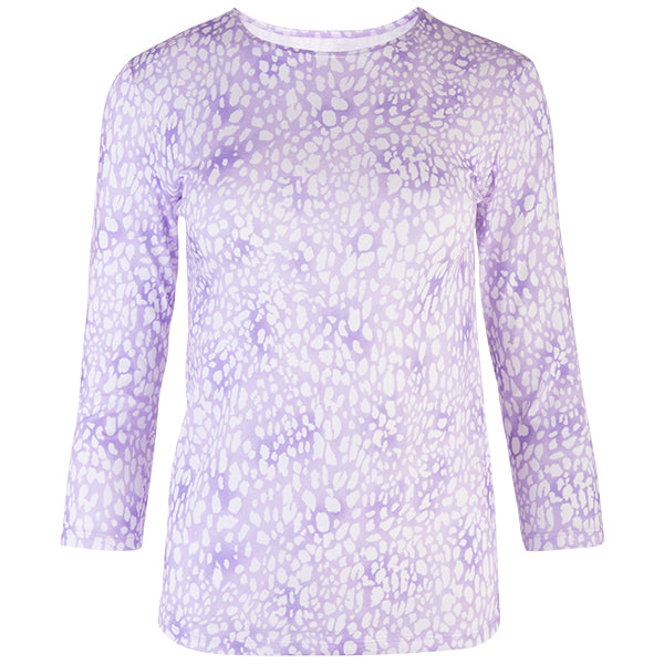 3/4 Sleeve Knit Tee in Mini Leo Lavender
