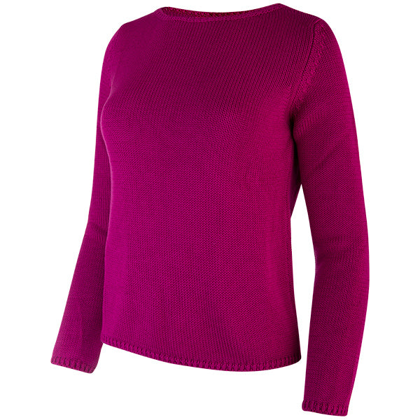 Long Sleeve Pullover in Dark Fuxia