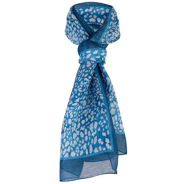Printed Modal Linen Silk Scarf in Mini Leo Teal
