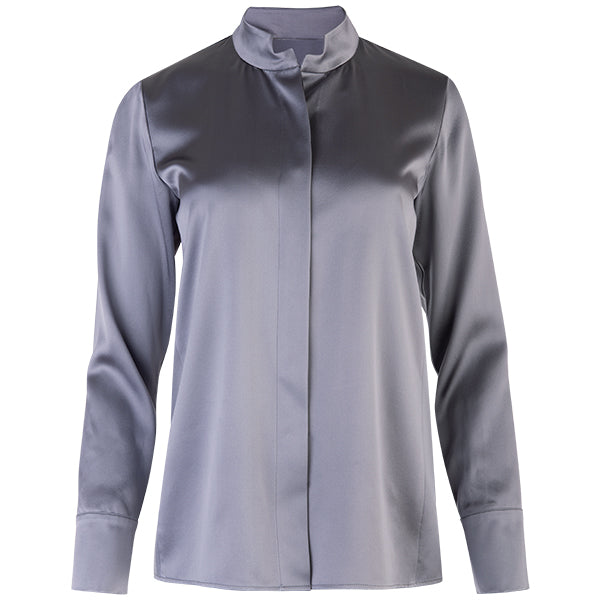 Side Panel Silk Blouse in Dark Grey