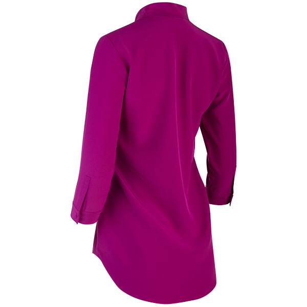 Inverted Notch Collar Tunic in Dark Fuxia
