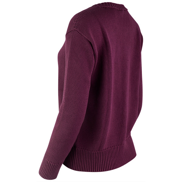 Oversized Round Neck Pullover in Merlot