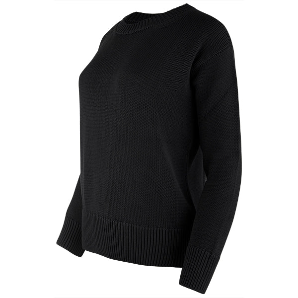 Oversized Round Neck Pullover in Black