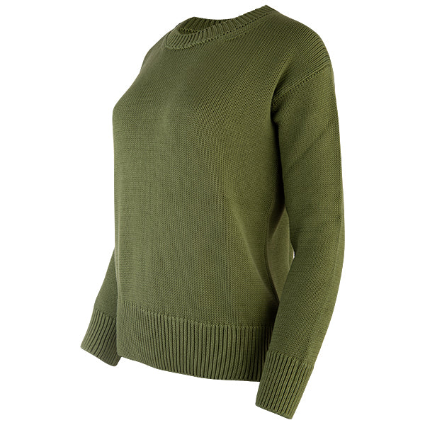Oversized Round Neck Pullover in Army Green