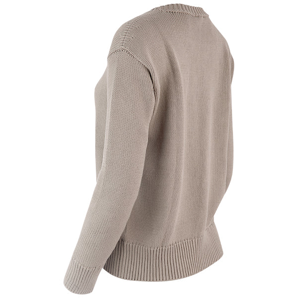 Oversized Round Neck Pullover in Taupe