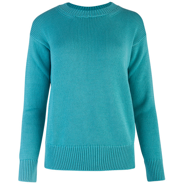 Oversized Round Neck Pullover in Light Teal