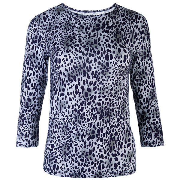 3/4 Sleeve Knit Tee in Mini Leo Navy/Grey