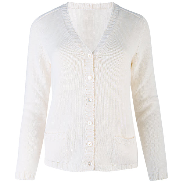 Short Varsity Cardigan in Off White