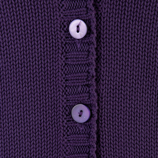 Short Varsity Cardigan in Grape
