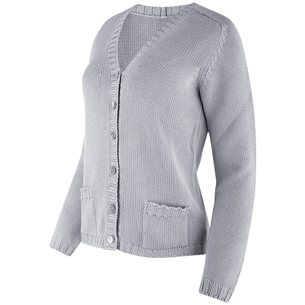 Short Varsity Cardigan in Light Grey