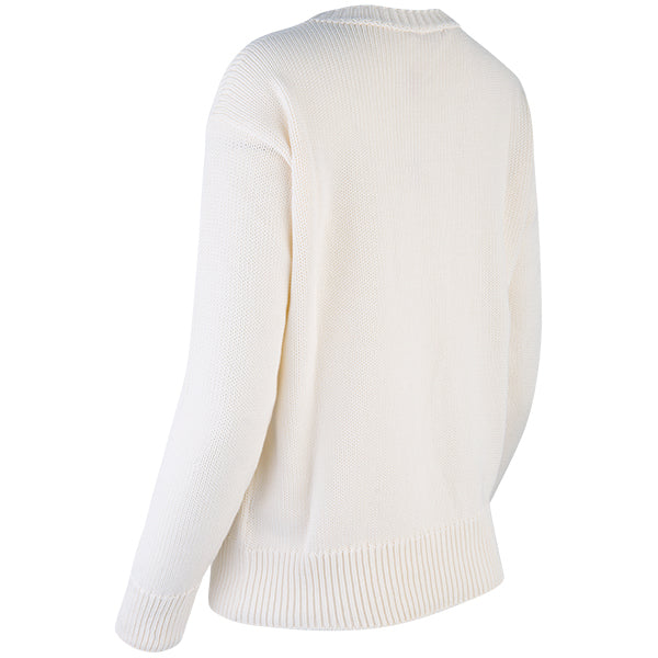 Oversized Round Neck Pullover in Off White