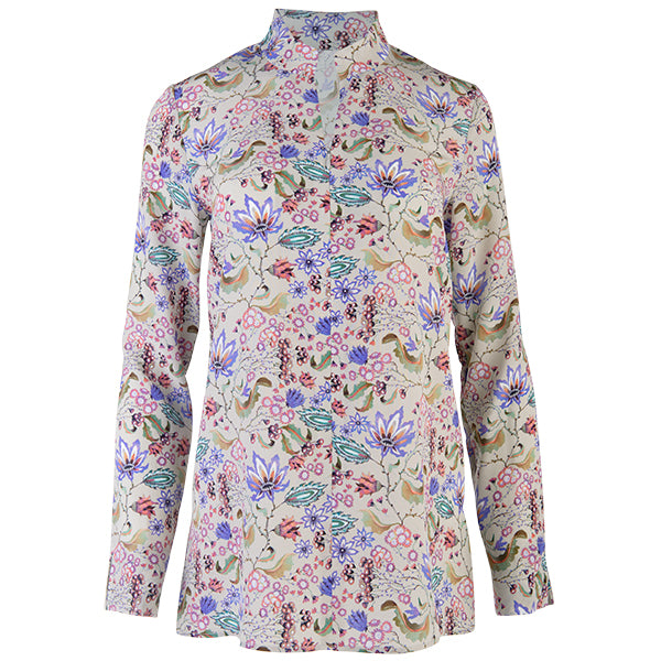 Zip Front High Collar Tunic in Fantasy Botanical