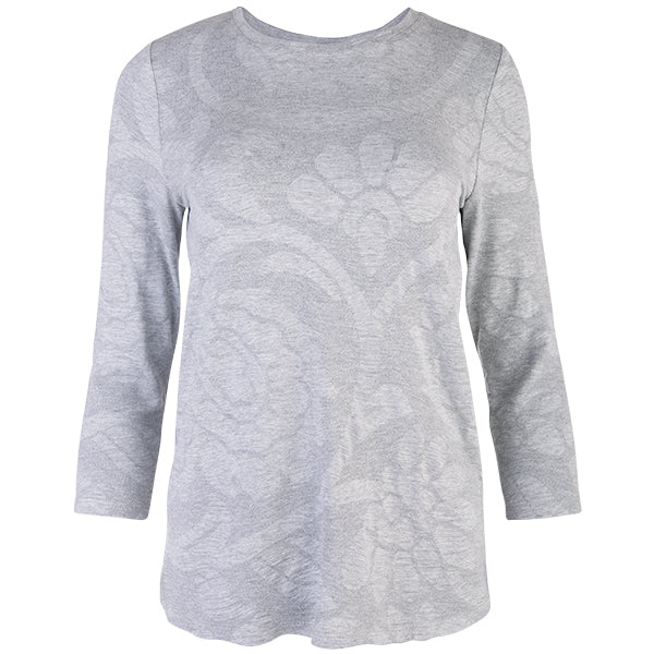3/4 Sleeve Relaxed Tee in Light Grey