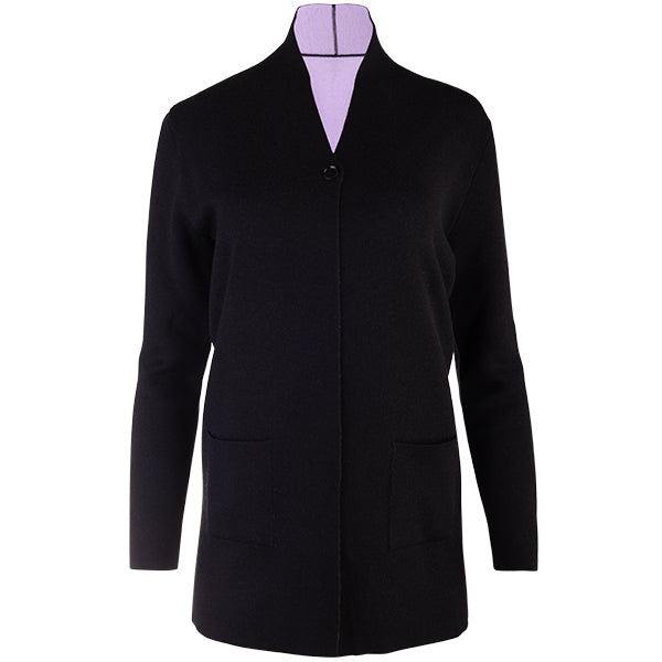 Double-Faced Single Button Cardigan in Black