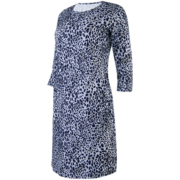 Scoop Neck Dress with 3/4 Sleeves in Mini Leo Navy/Grey