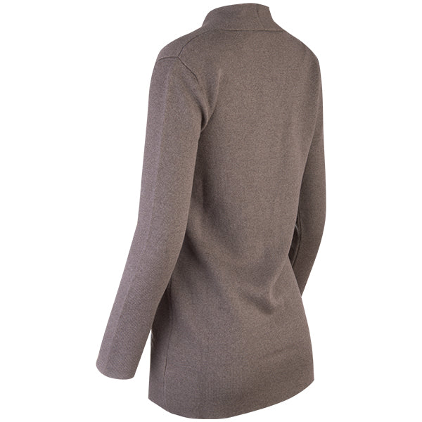 Double-Faced Single Button Cardigan in Taupe